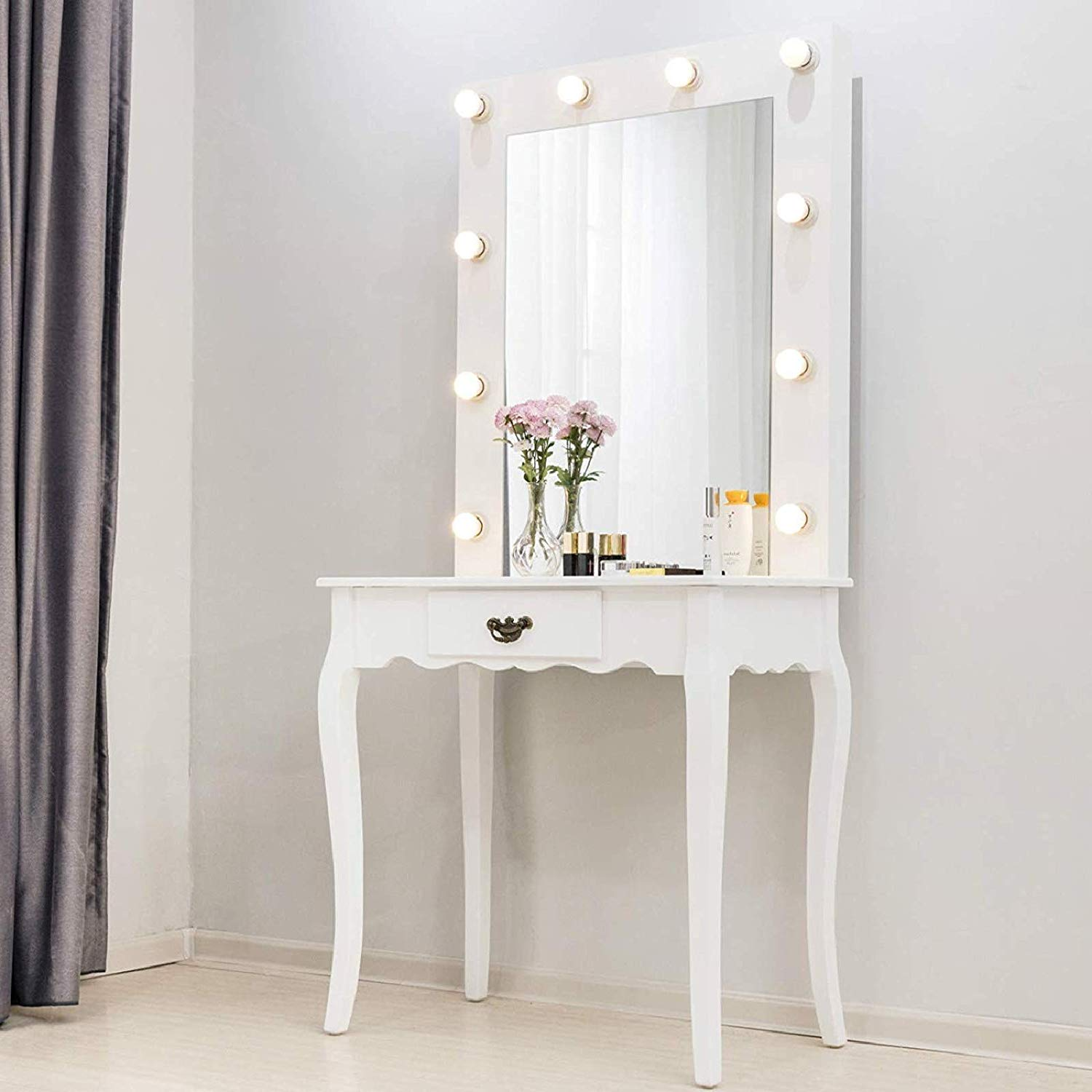 Ladies Chic Vanity Mirror Makeup Wood Dressing Table Drawer Desk 10 Led Bulbs Ebay