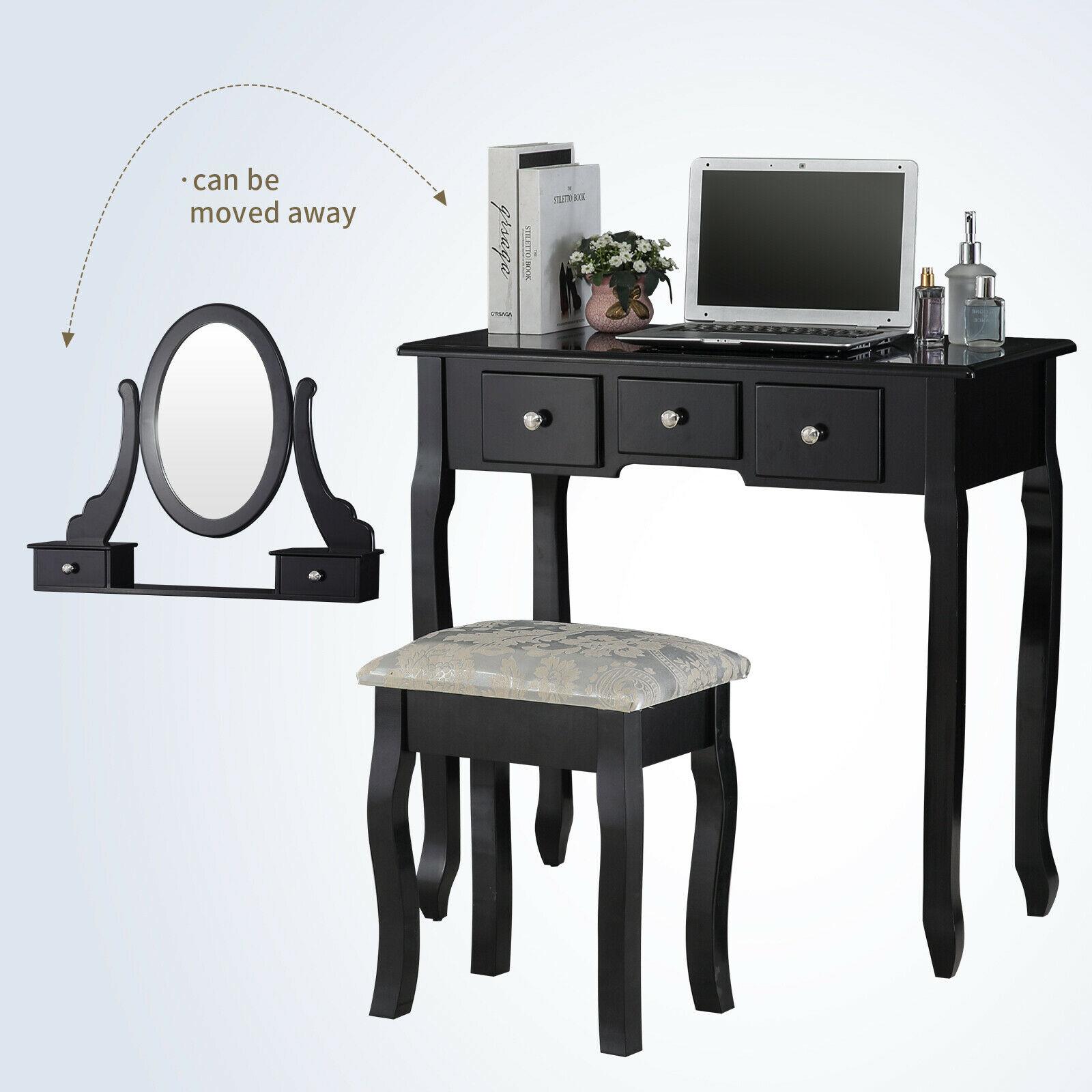 Black Vanity Dressing Table Set With Mirror Stool 5 Drawers Makeup Desk Bedroom Ebay