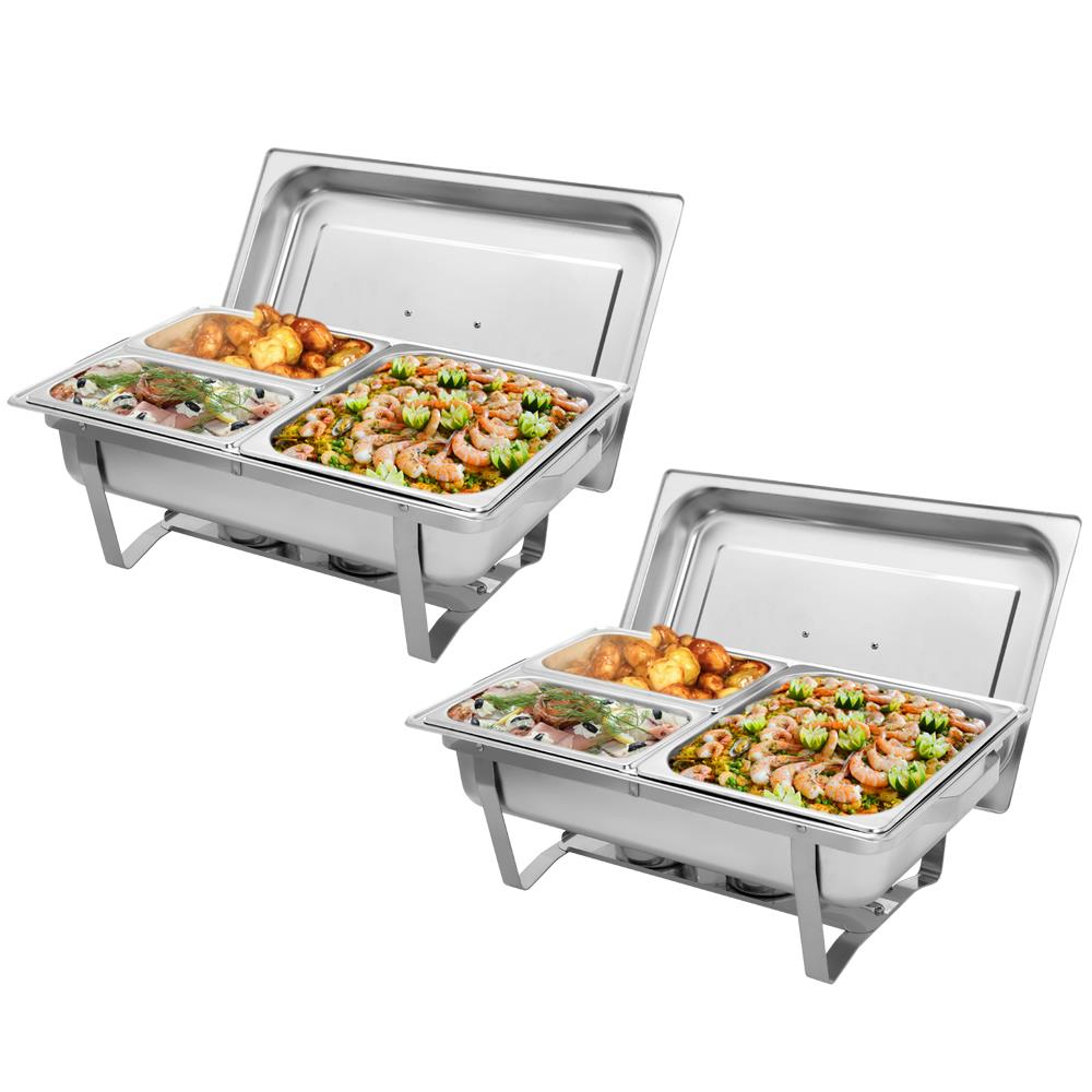 2 Pack Rectangular Chafing Stainless Steel Chafer 9L 1//2 Size Buffet Christmas