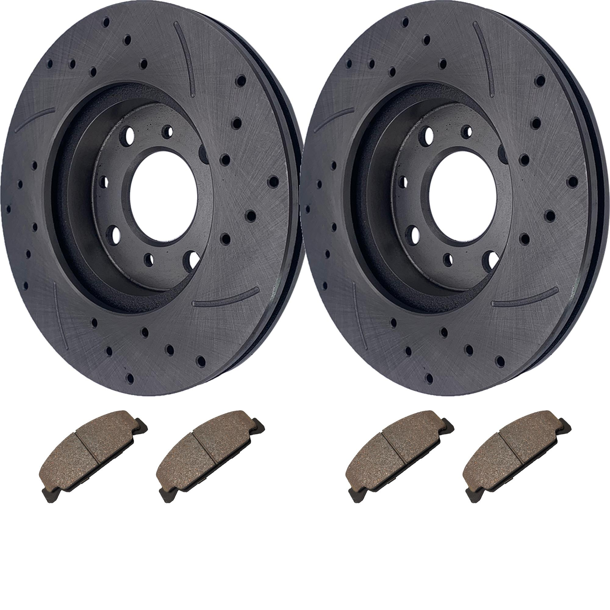 Front Drilled Slotted Brake Rotor Ceramic Pad for Honda Civic CRX Del Sol DX GX