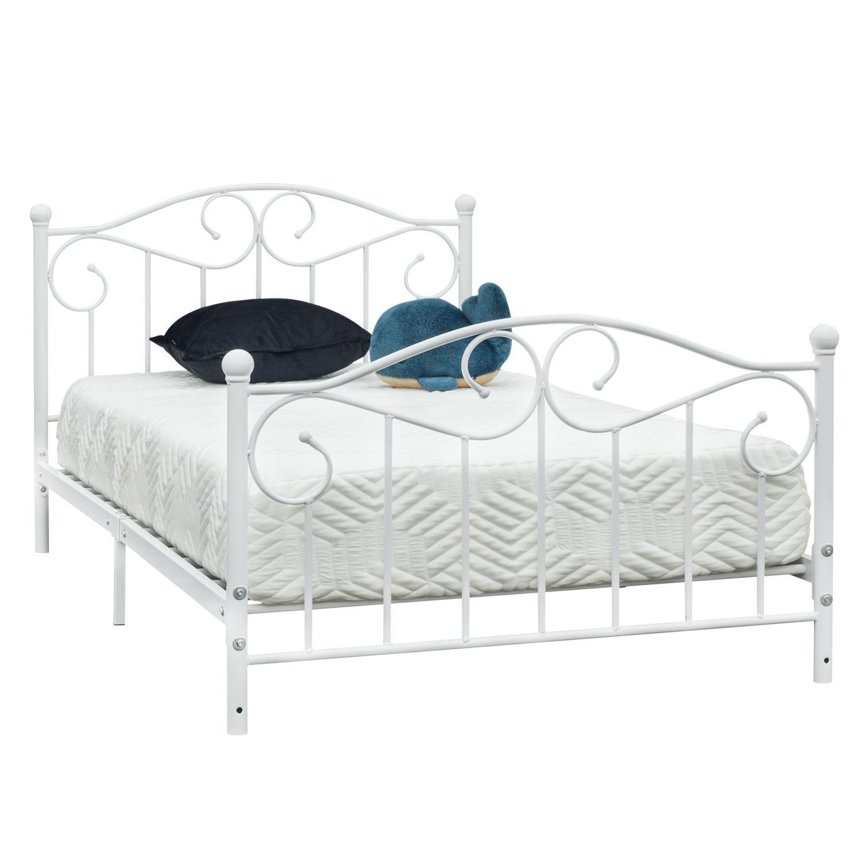 Twin Size Bed Frame Metal Platform Heavy Duty Headboard Footboard Bedroom White