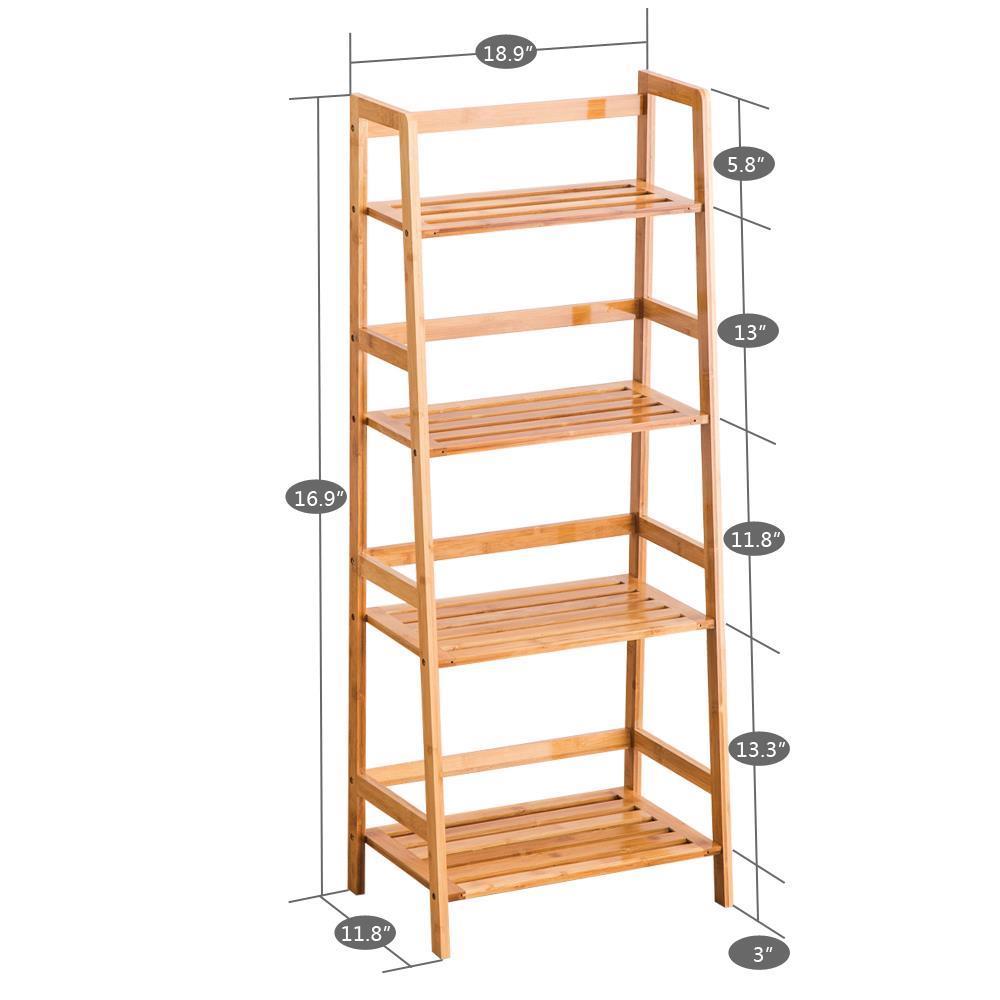 4 Tier Leaning Ladder Shelf Bookshelf Storage Shelves Unit Organizer Log Color