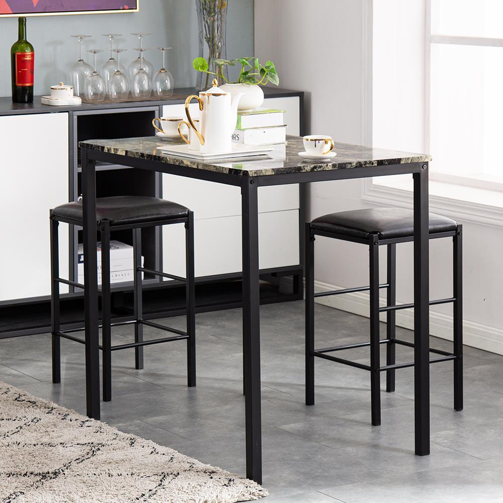 Details about Modern Style 3 PCS Counter Height Dining Set Table 2 Chair  Kitchen Bar Furniture