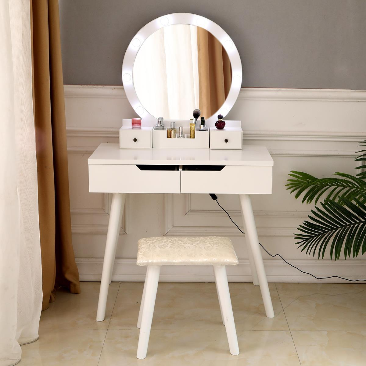 White Dressing Desk With 4 Drawers And Cushioned Stool For Bedroom M W Makeup Vanity Table Set With Round Mirror Built In 3 Color Led Light Vanities Vanity Benches Furniture