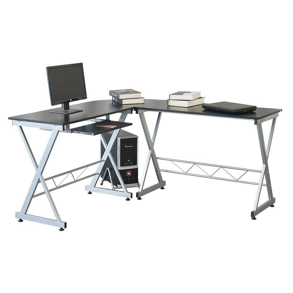 L Shape Computer Desk Workstation With Pull Out Keyboard Tray Black 748092224286 Ebay