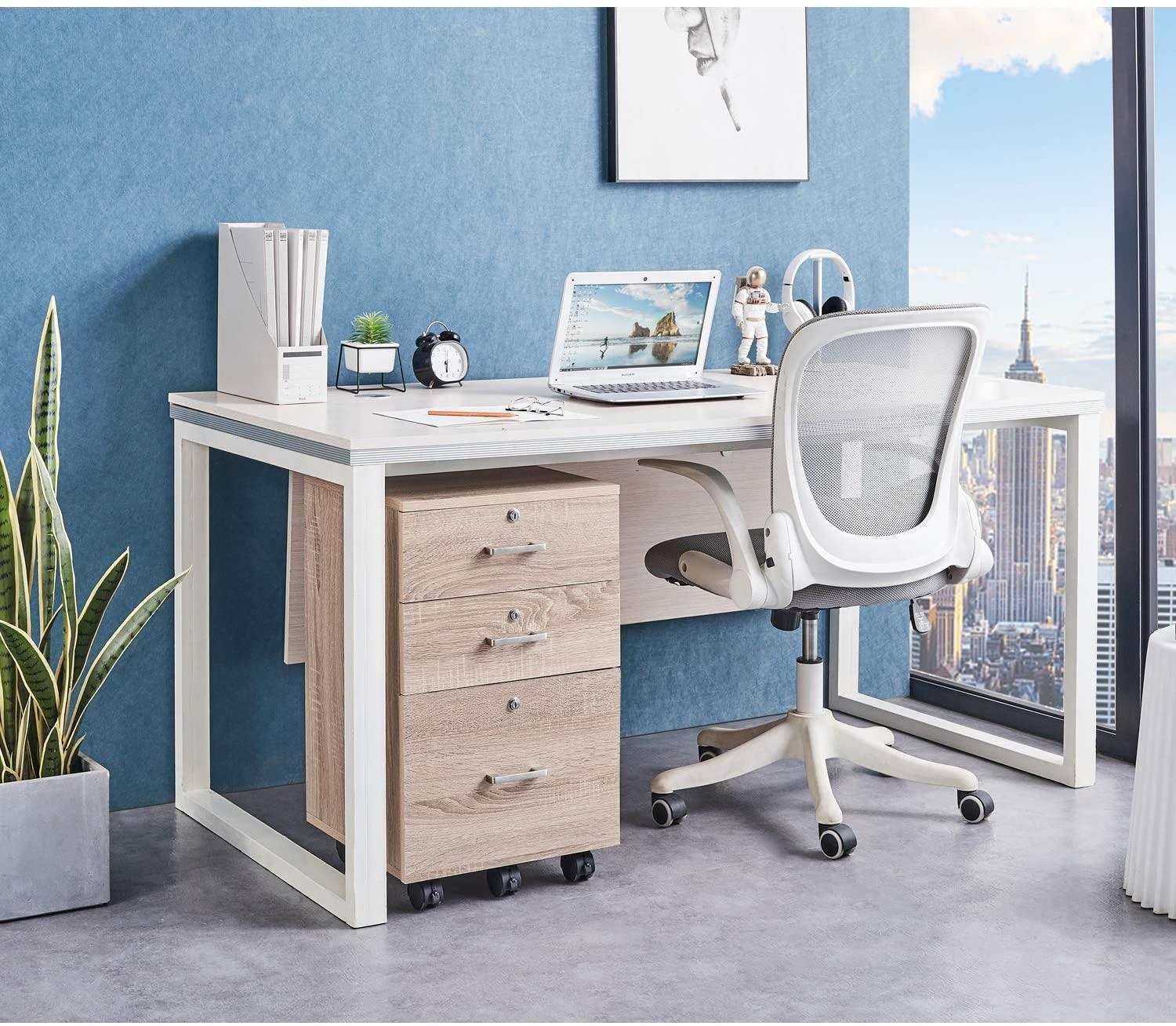 Color : B1 Wood File Cabinet 3-Layer Desktop Organizer Storage Box with Drawers for Monitor Stand//Printer Platform-2 Color