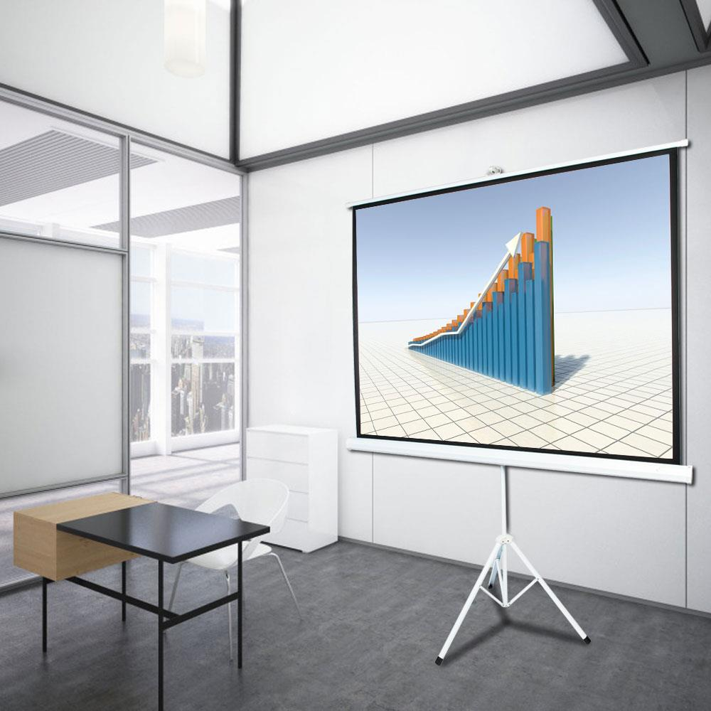 """100/"""" 4:3 Projection Projector Screen Home HD Movie Manual Pull Up Stand Tripod"""