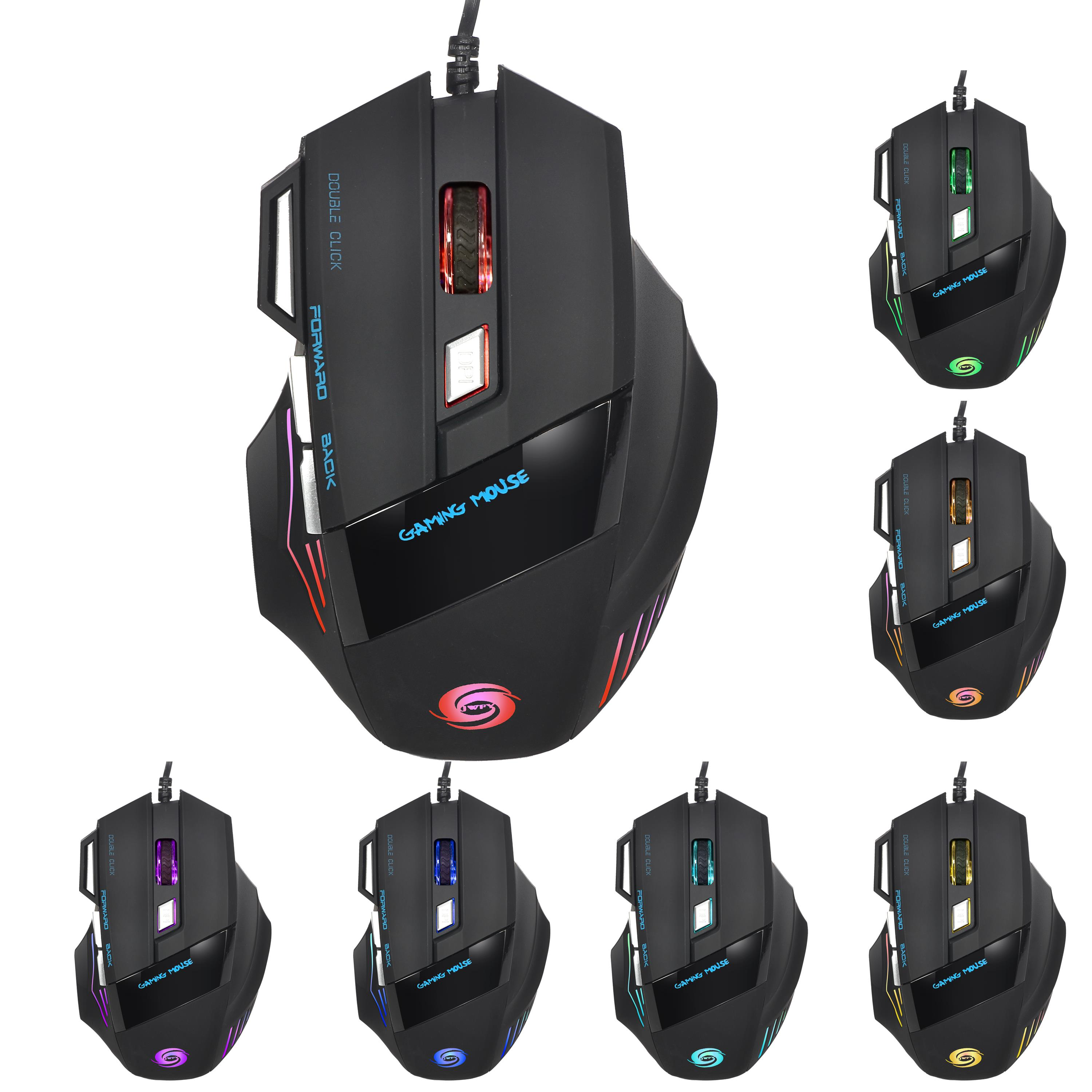 Gaming Mouse 7 Button USB Wired Alternating Light Laptop PC Mouse RGB Backlit US