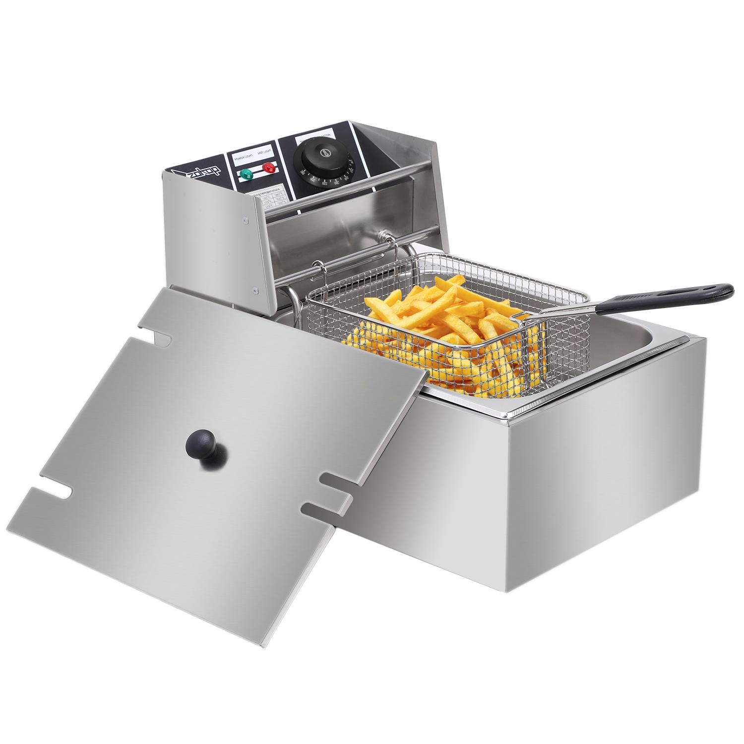 2500W Electric Deep Fryer Commercial Tabletop Restaurant Fry Basket 6L 2019