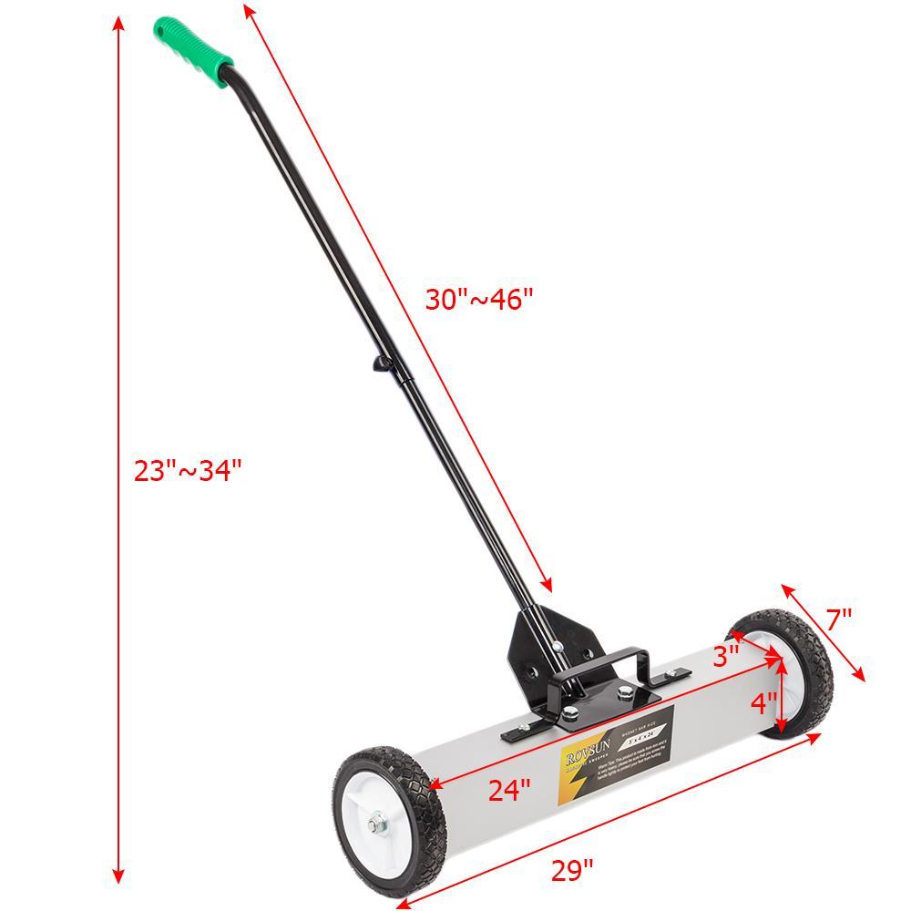 "24/""//36/'/' Heavy Duty Magnetic Floor Sweeper Pick Up Roller Push Broom Tool"