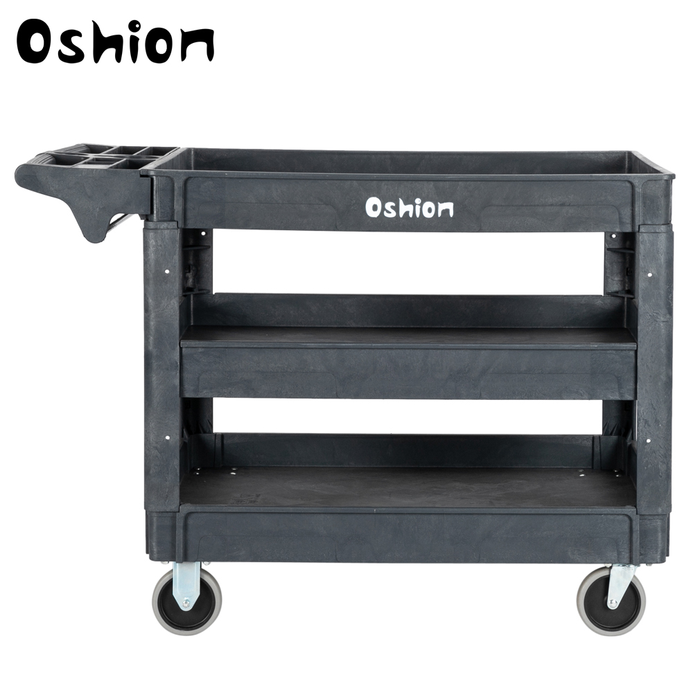 Large 3 Tray Plastic Utility Service Cart Heavy Duty Shelves Industrial Handcart