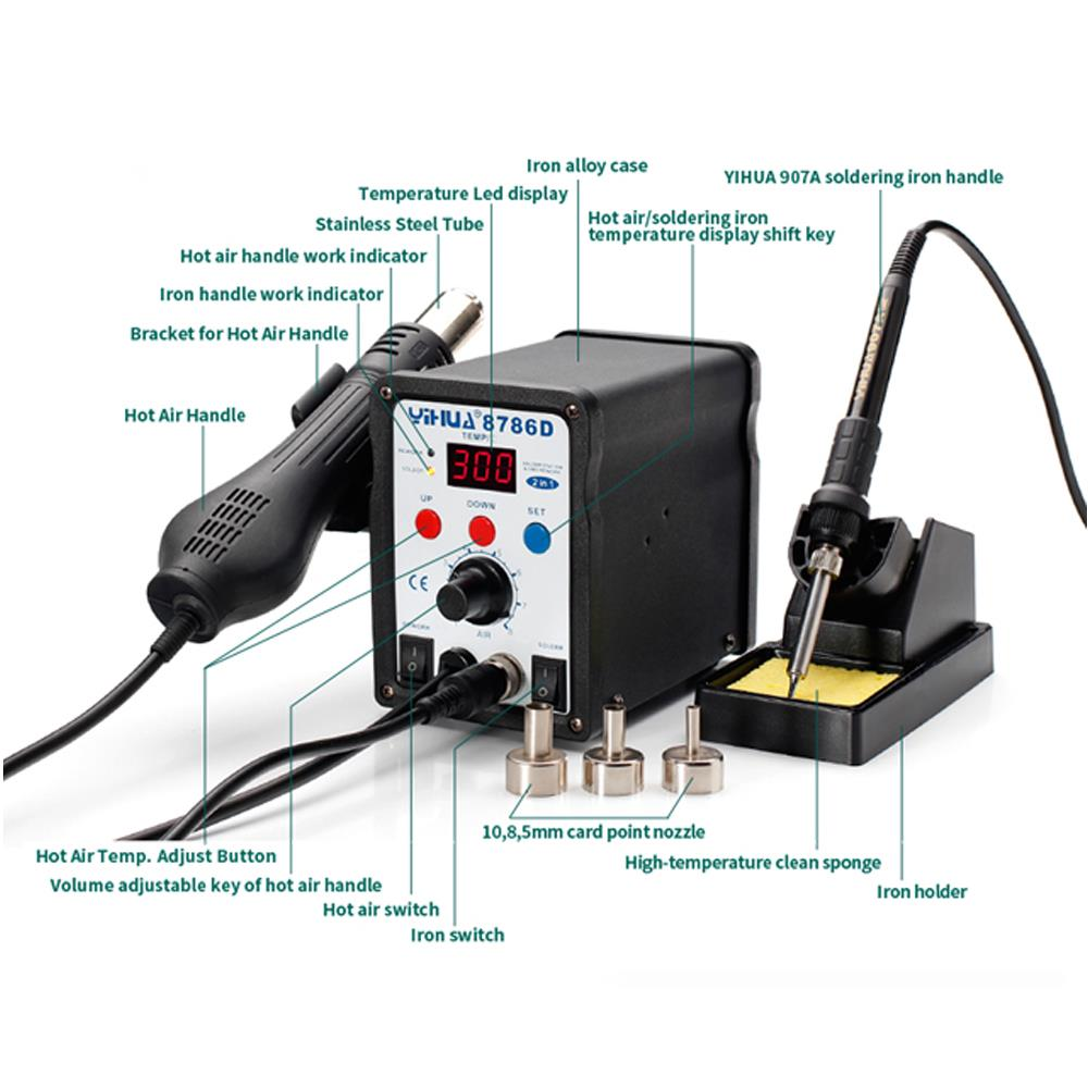 2in1 Digital Hot Air Rework Station Soldering Iron Station 4 Hot Air Nozzles 8