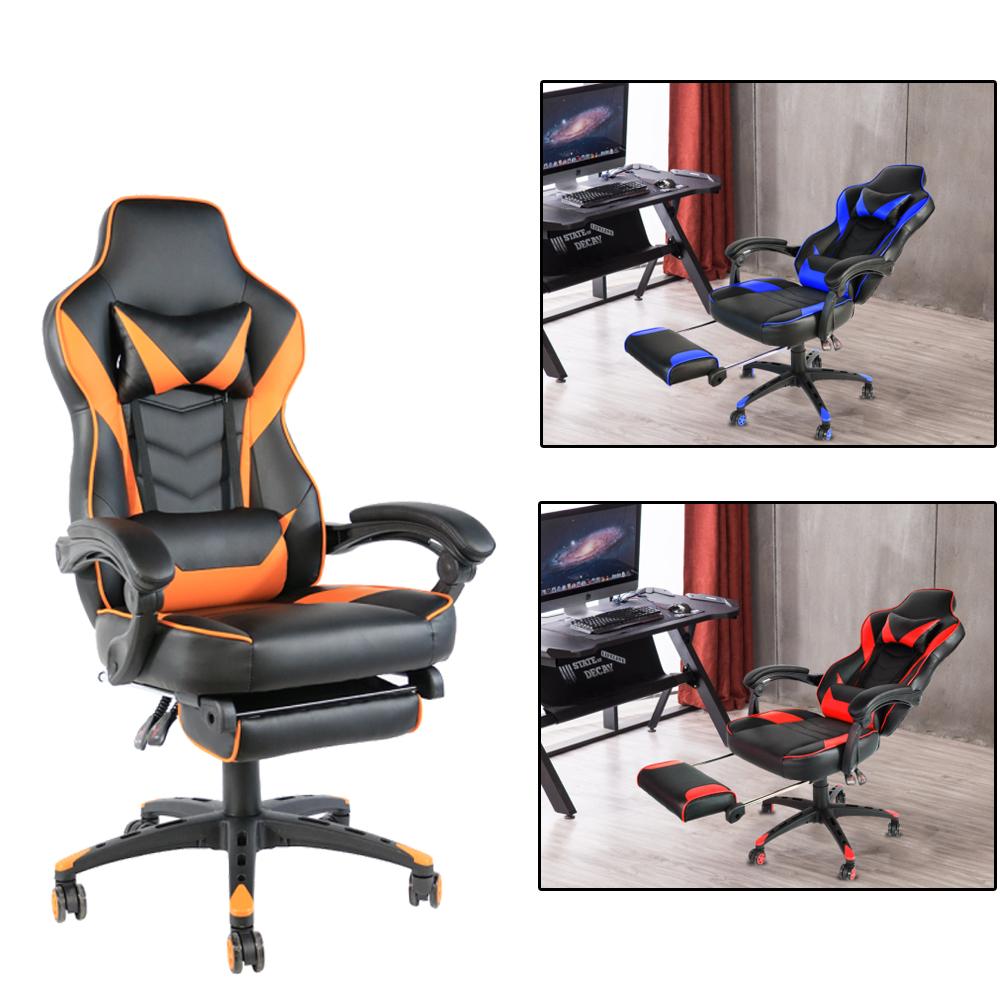 Office Gaming Chair Racing Recliner Bucket Seat Computer Desk Footrest Ebay