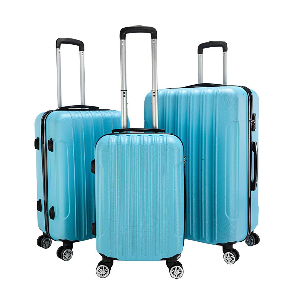 20 24 28 Trolley Suitcase ABS PC Spinner With TSA Lock Luggage Light Blue Set of 3