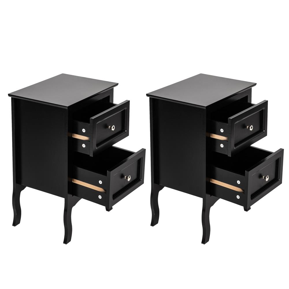 Set Of 2 Nightstand End Table Bedroom W//Storage Organizer Wooden Side Bedside