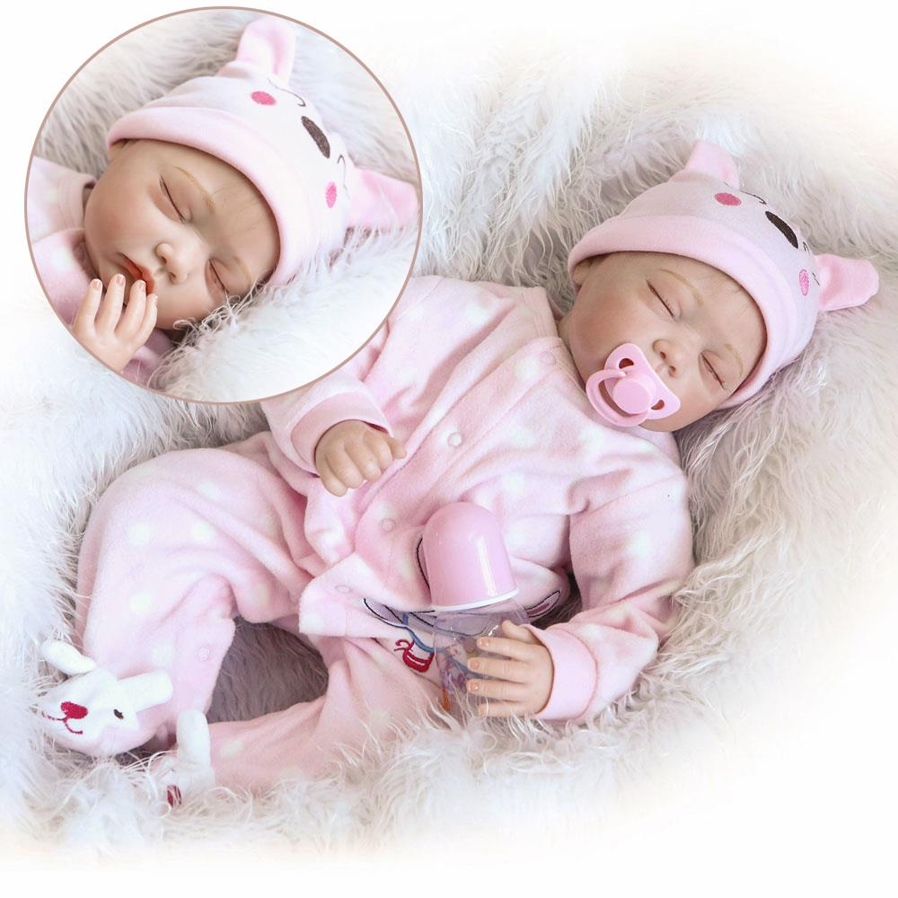 Reborn Newborn Girl Doll 22/'/'Handmade Lifelike Baby Silicone Vinyl Dolls+Clothes