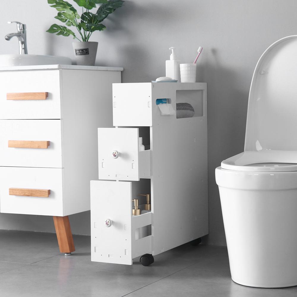 New White Floor Bath Cabinet Medicine Shelf Toilet Paper Storage Bathroom Drawer Ebay