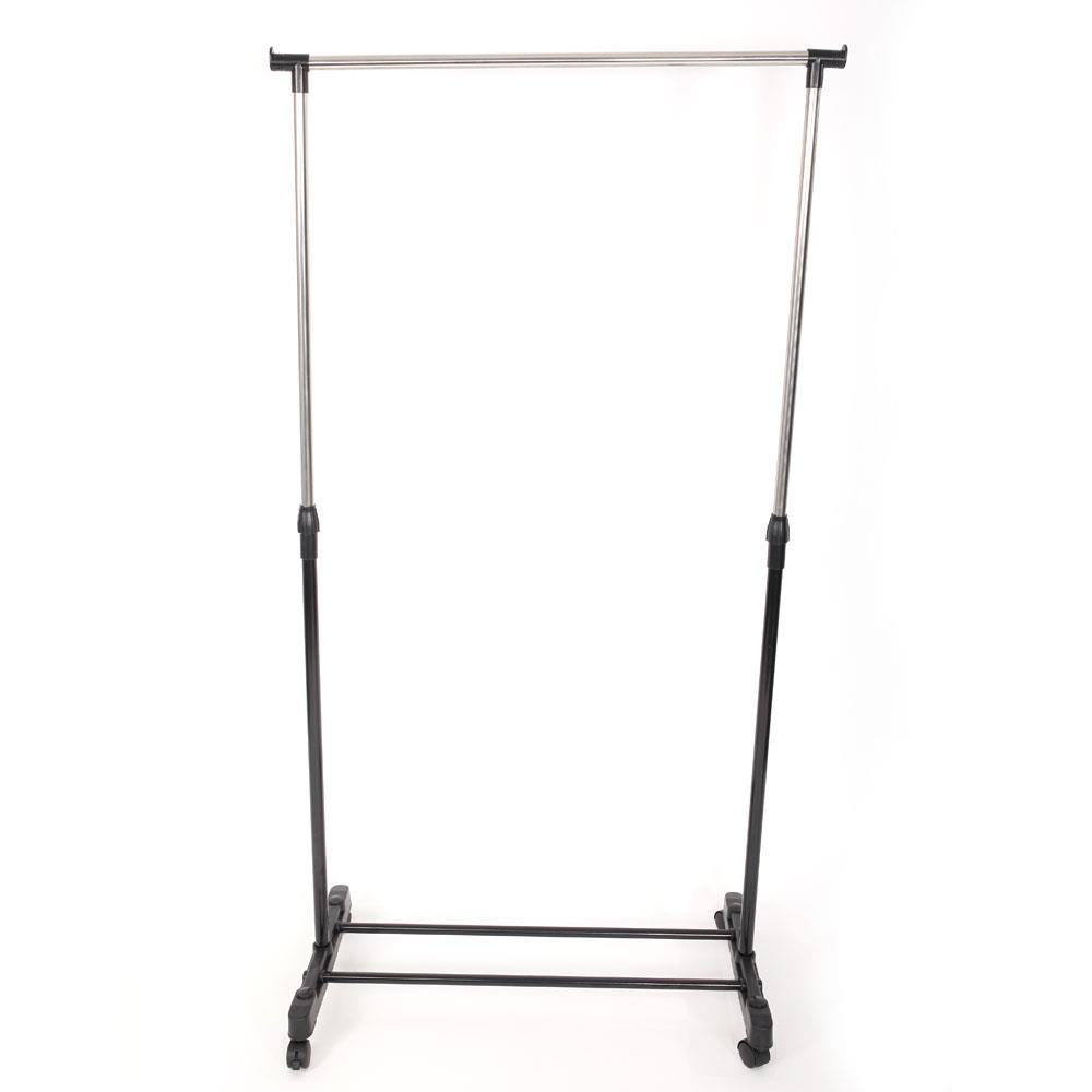 Single-bar Vertical /& Horizontal Stretching Stand Clothes Rack Black /& Silver Adjustable Clothes Garment Rack