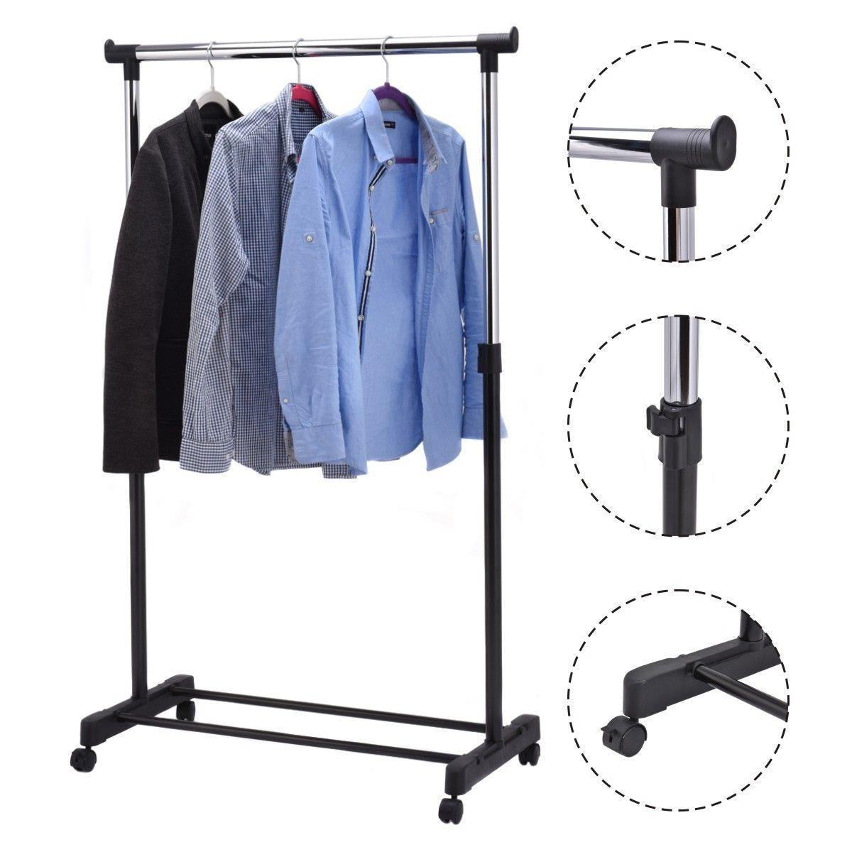 details about new portable rolling clothes rack single hanging garment bar heavy duty hanger