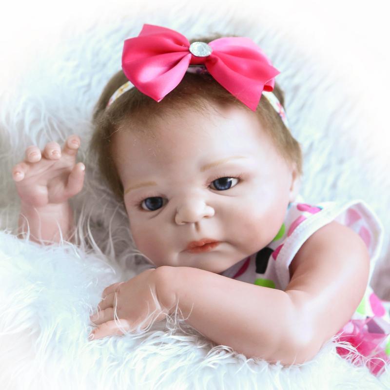 """23/""""Reborn Full Body Silicone Girl Baby Doll Newborn Preemie Dolls Babies"""