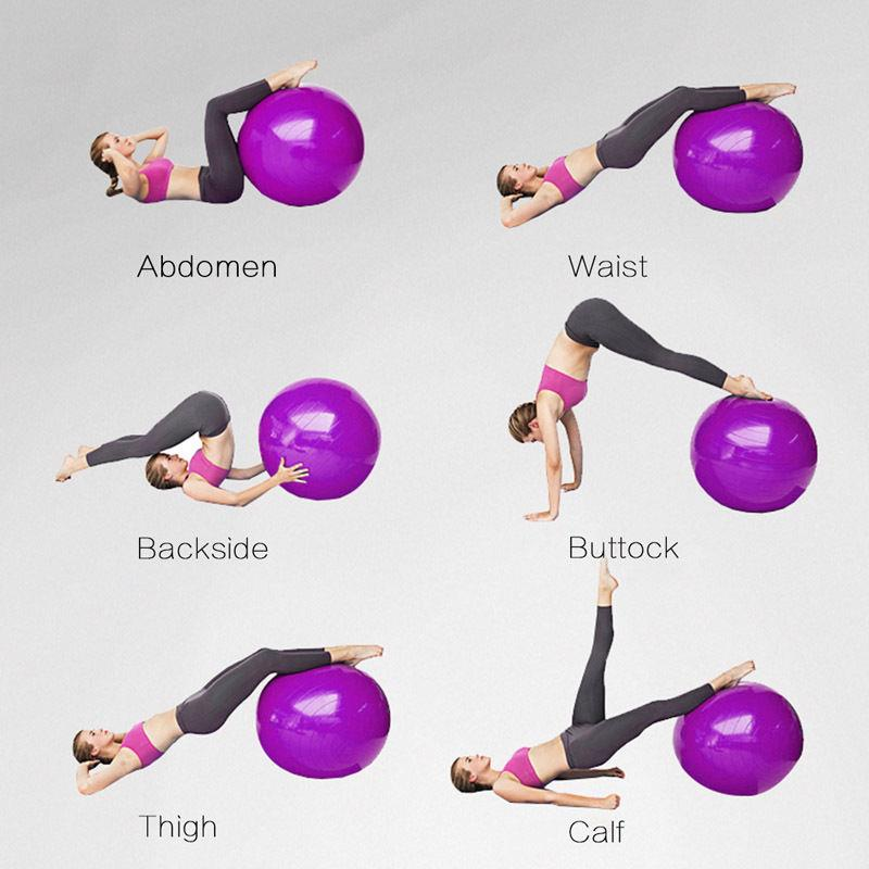 55cm 65cm Exercise Ball Air Pump For Yoga Fitness Pilates Pregnancy 4 Colors Ebay