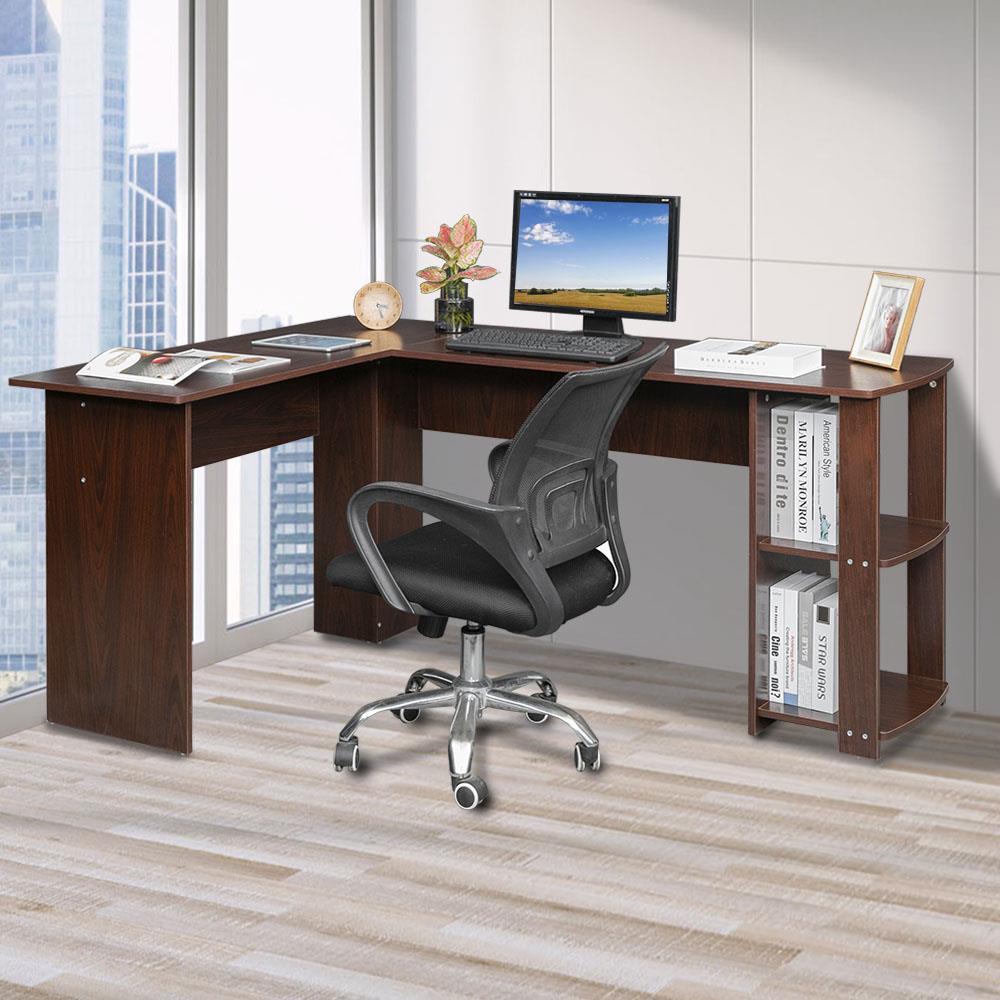 Details about L-Shapped Desk Corner Computer Desk with BookShelf PC Laptop  Workstation Table
