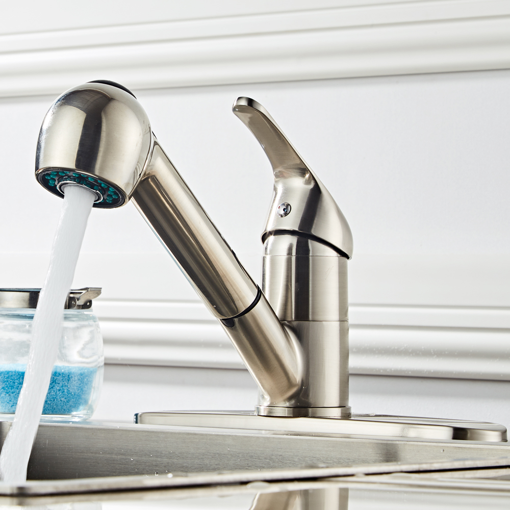 Kitchen Faucet Swivel Spout Pull Down Sprayer Deck Mount Sink Tap Brushed Nickel