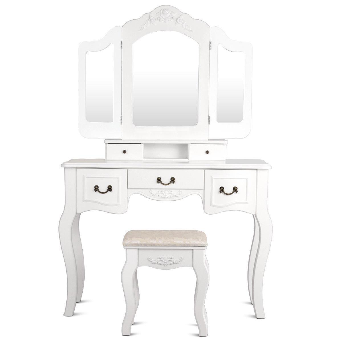 Tri-Folding Mirror Vanity Set 5 Drawers Dressing Table Makeup Desk/&Stool 2 Color
