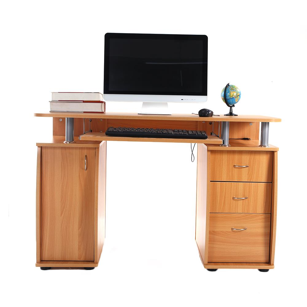 Details about Home Office Computer Desk Laptop PC Study Table With 3  Drawers Furniture Wooden
