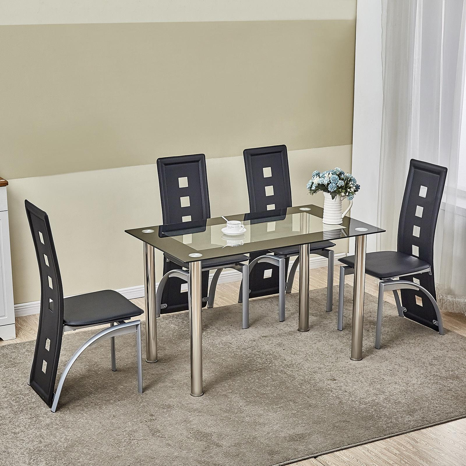 Picture of: 5 Piece Dining Table Set Black Glass 4 Chairs Seats Kitchen Dinette Home Decor Ebay