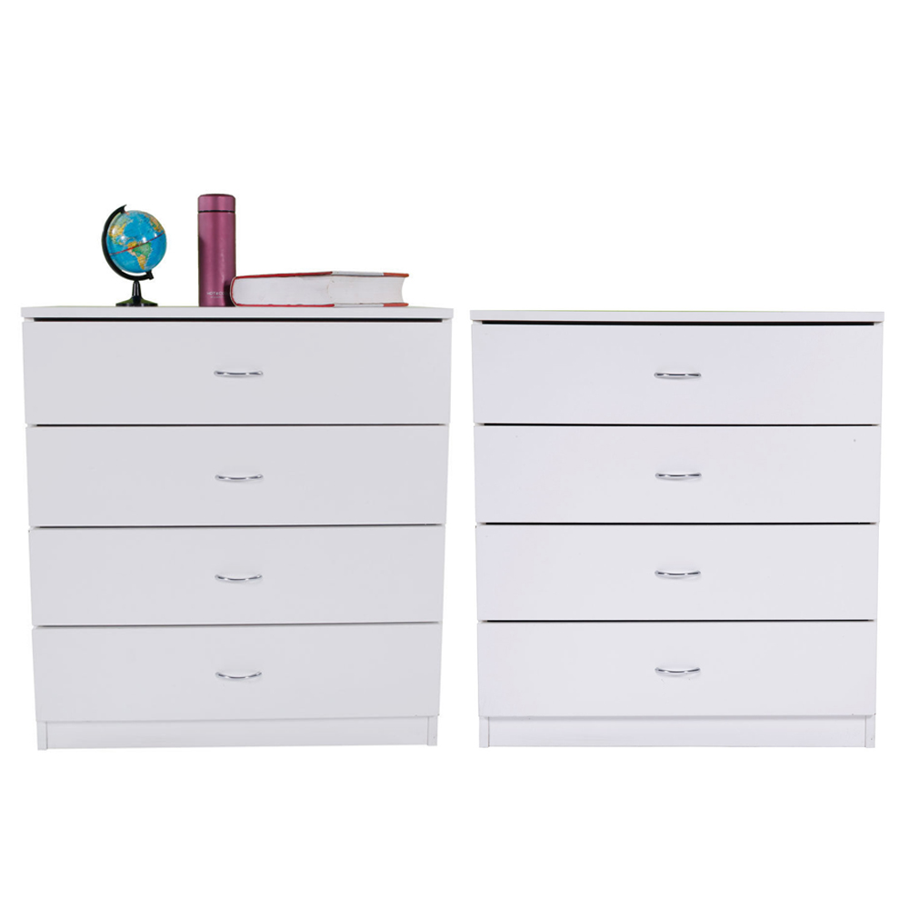 Details about Set of 2 Bedroom 4 Dressers Drawers Wooden Storage Organizer  Furniture White