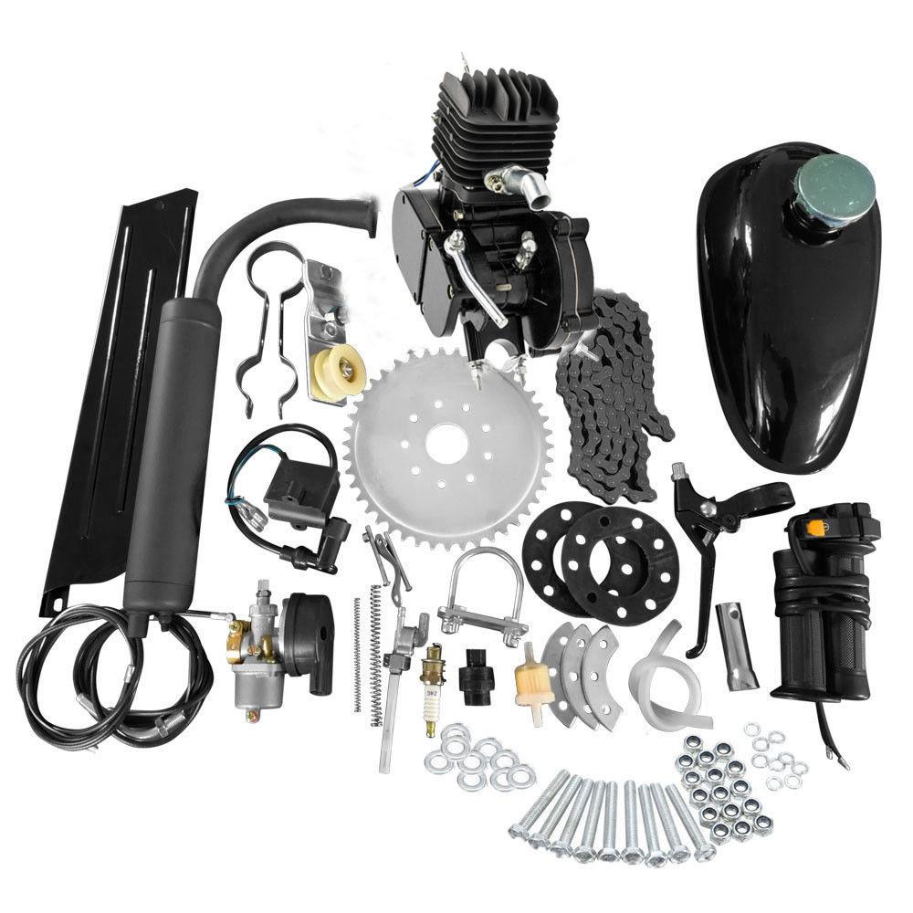 Sannysis Scooter Motors,Full Set 80cc Bike Bicycle Motorized 2 Stroke Petrol Gas Motor Engine Kit Set,Single Cylinder,80cc 2-Stroke Engine Kit Set