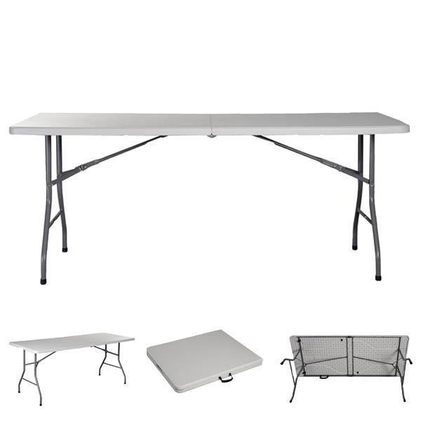 2, White 6 Folding Table Portable Plastic Indoor Outdoor Picnic Party Dining Camp Tables