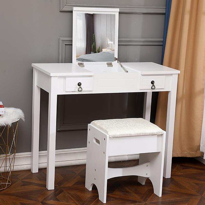 Natural Panana B Large Dressing Table With Sliding Storage Mirror Drawer Makeup Vanity Dresser Set Bedroom Furniture Home Kitchen Furniture