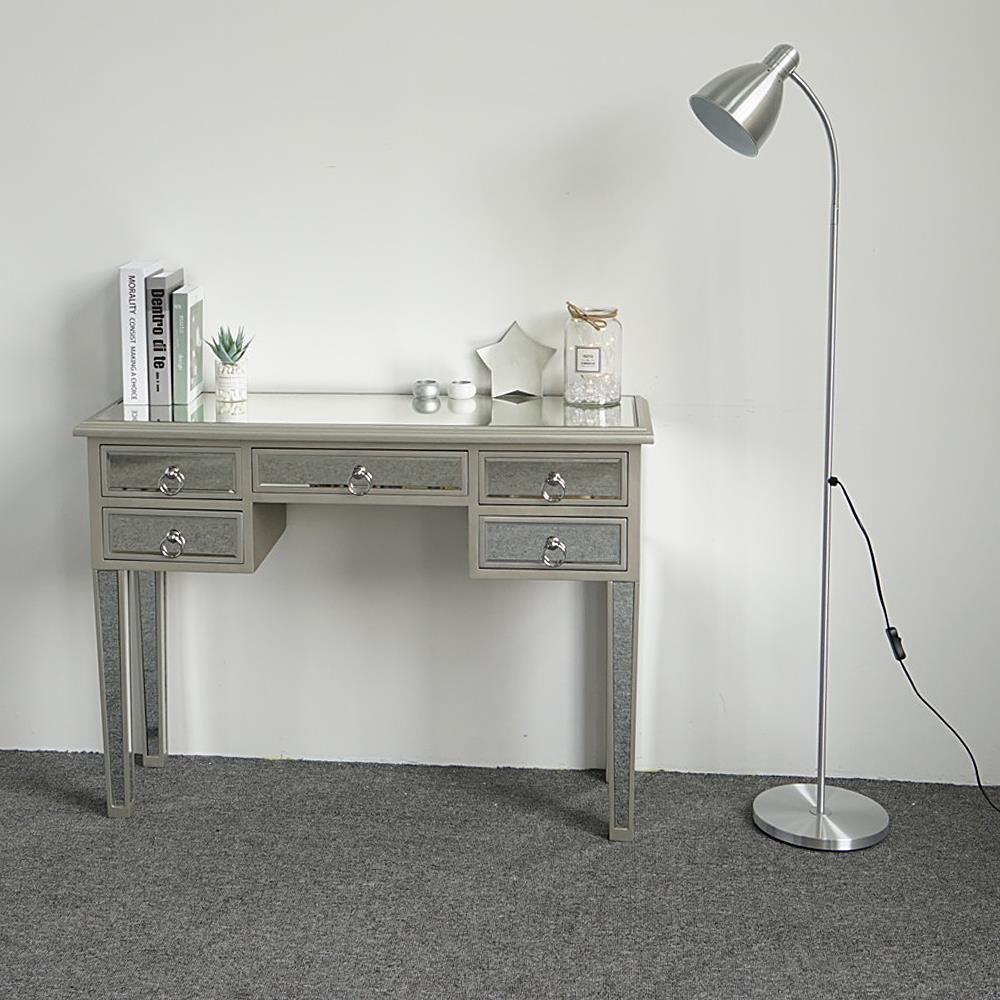 Mirrored Vanity Table Silver Finish Living Room Accent Bedroom Makeup Table | EBay
