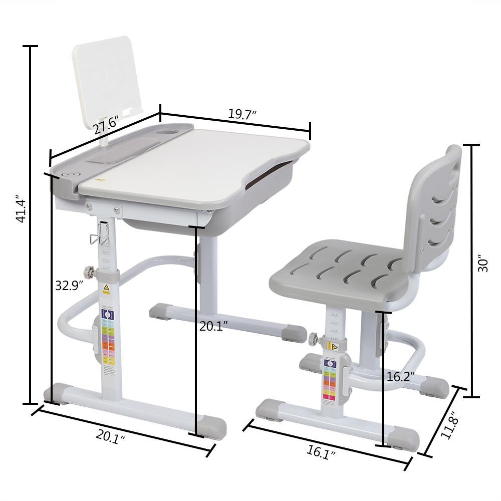 Height Adjustable Desk And Chair Set High School Student Childs