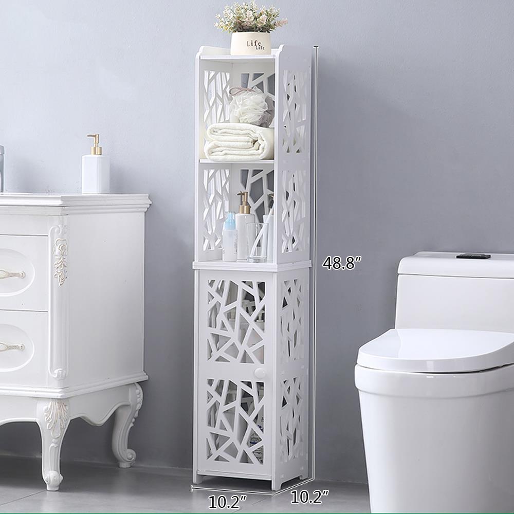 Tall Corner Bathroom Cabinet Tower Shelf Side Toilet Storage Organizer White Ebay