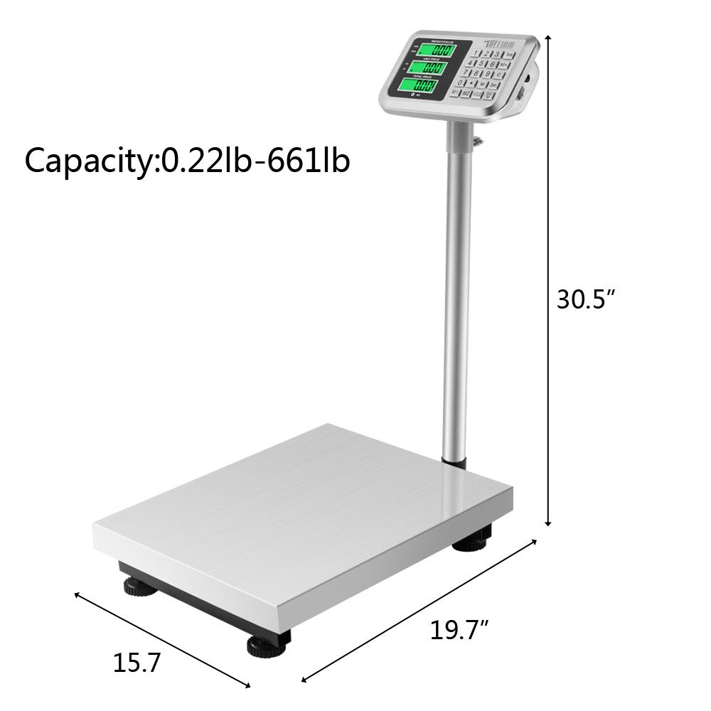 Black 660lbs Digital Heavy Duty Postal Scale,16 x 20 Folding Platform Scale,Industrial Grade Bench Scale for Weighing Luggage Package Shipping Mailing