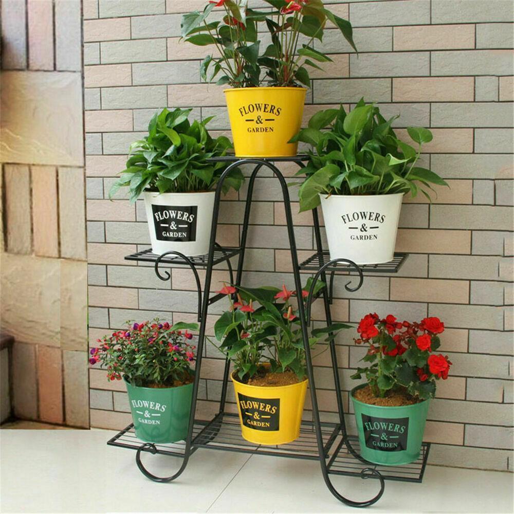 5 Tier Metal Flower Pot Plant Stand Balcony Floor-standing Multilayer Shelf Rack