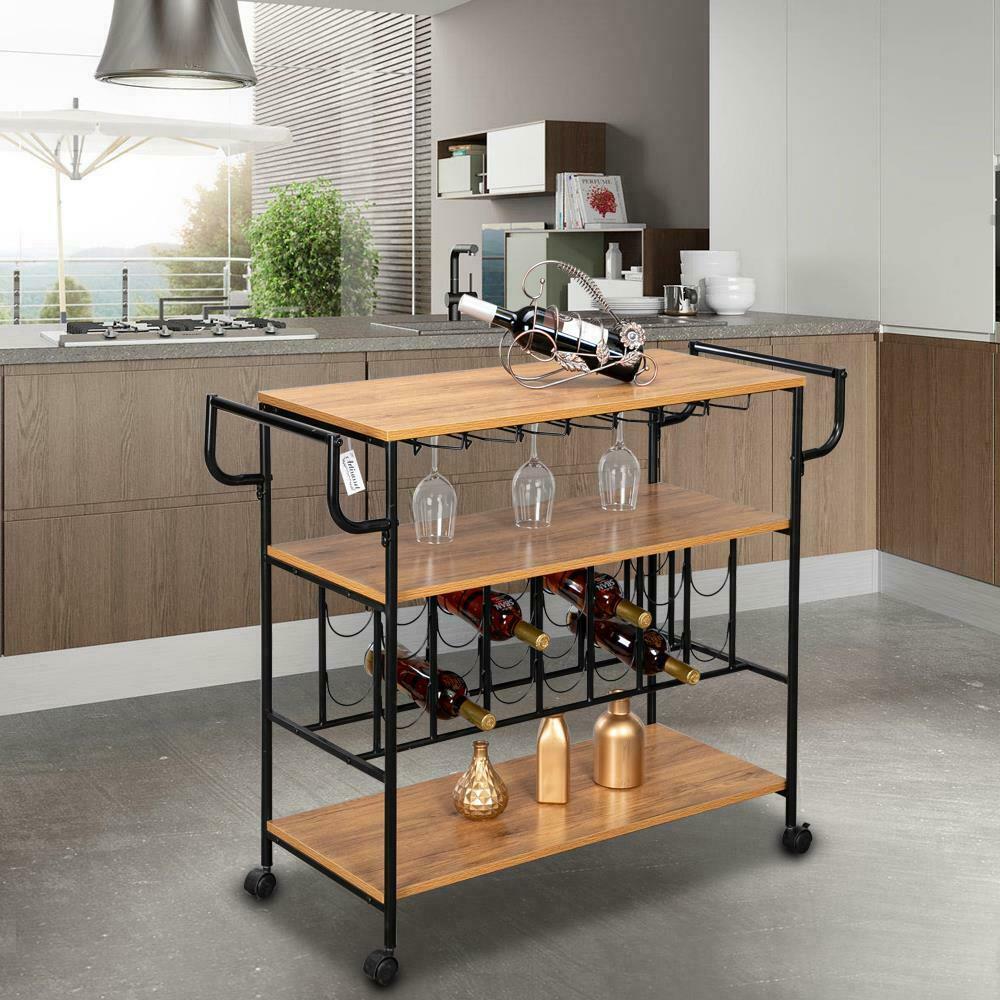 Kitchen Cart Island Table Butcher Block Stand Mobile Storage Wine Rack Modern Ebay