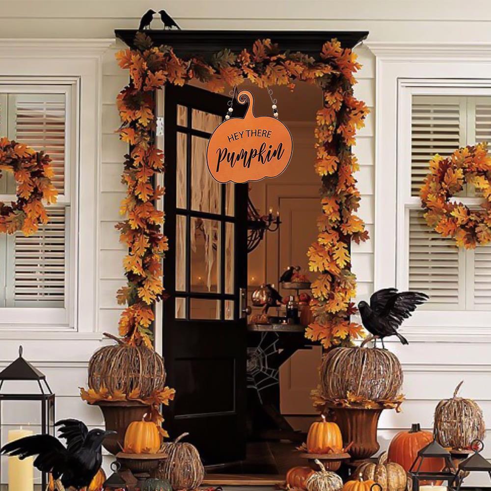 "New /""HEY THERE Pumpkin/"" Metal Sign Fall Decor Autumn Door Wall Hanging Wreath"
