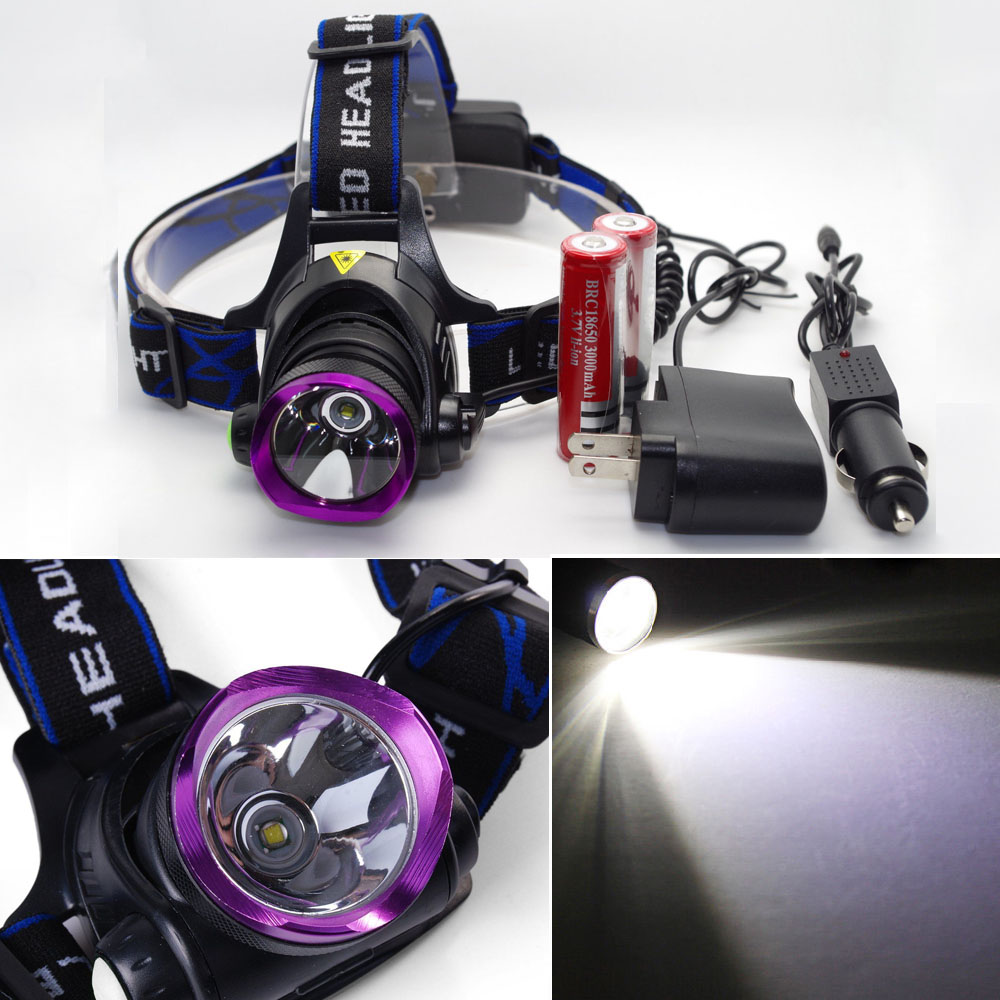 2x Battery Lot10 5000LM LED 18650 Headlamp Headlight Torch Charger