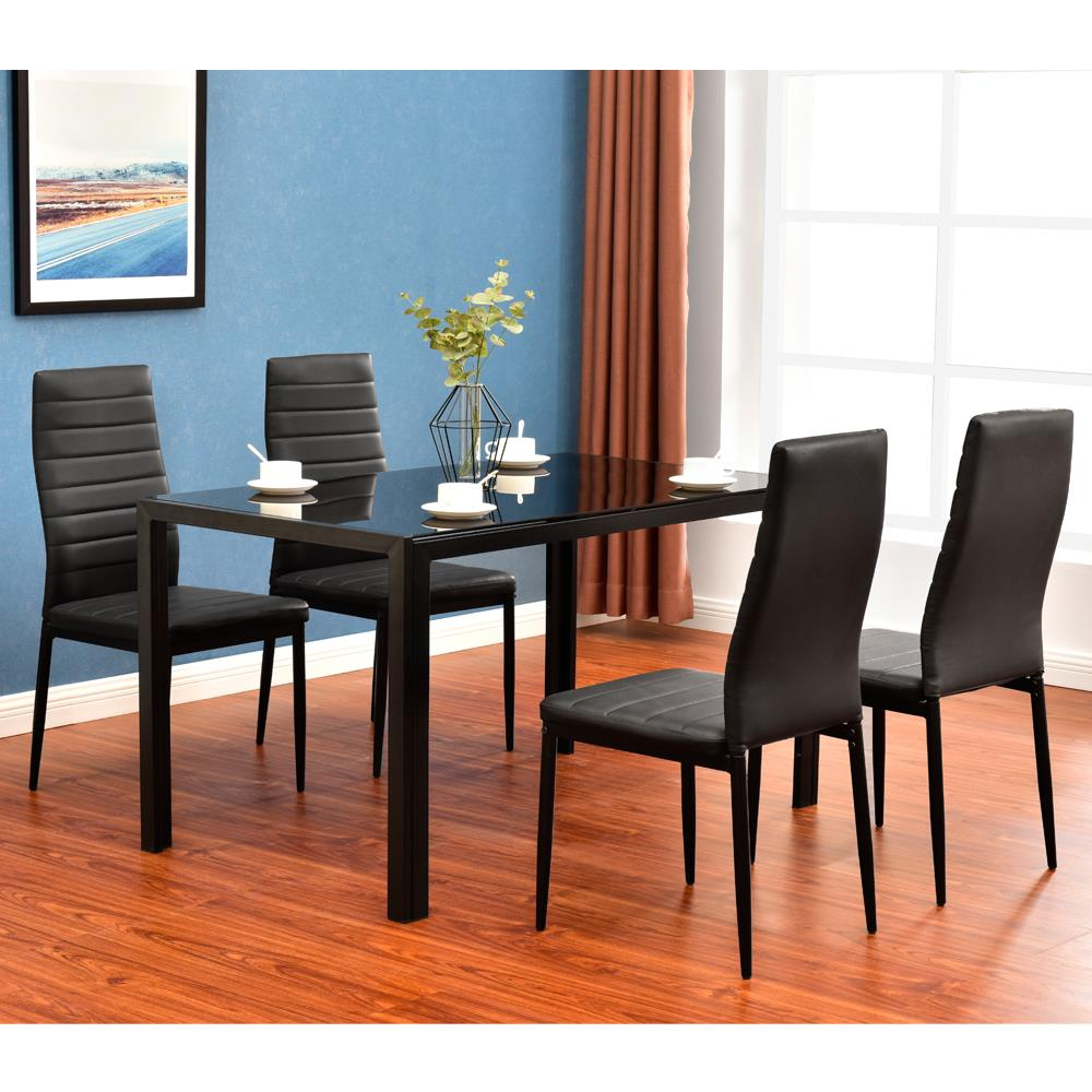 Modern 5 Pieces Dining Table Set Glass Top Dining Table Chair Set For 4 Person Ebay