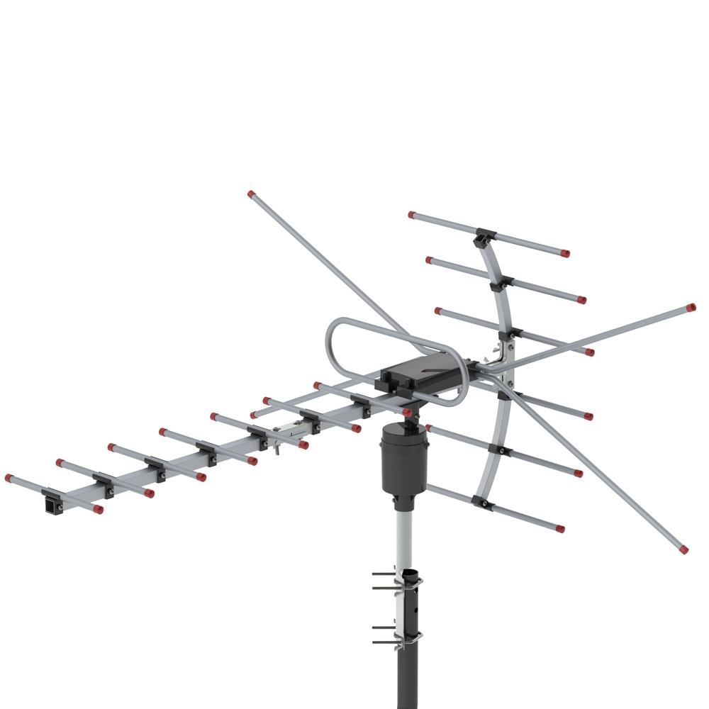2x Leadzm Outdoor Amplified Antenna HDTV 1080P 180Mile 360 Rotor 38dB UHF//VHF
