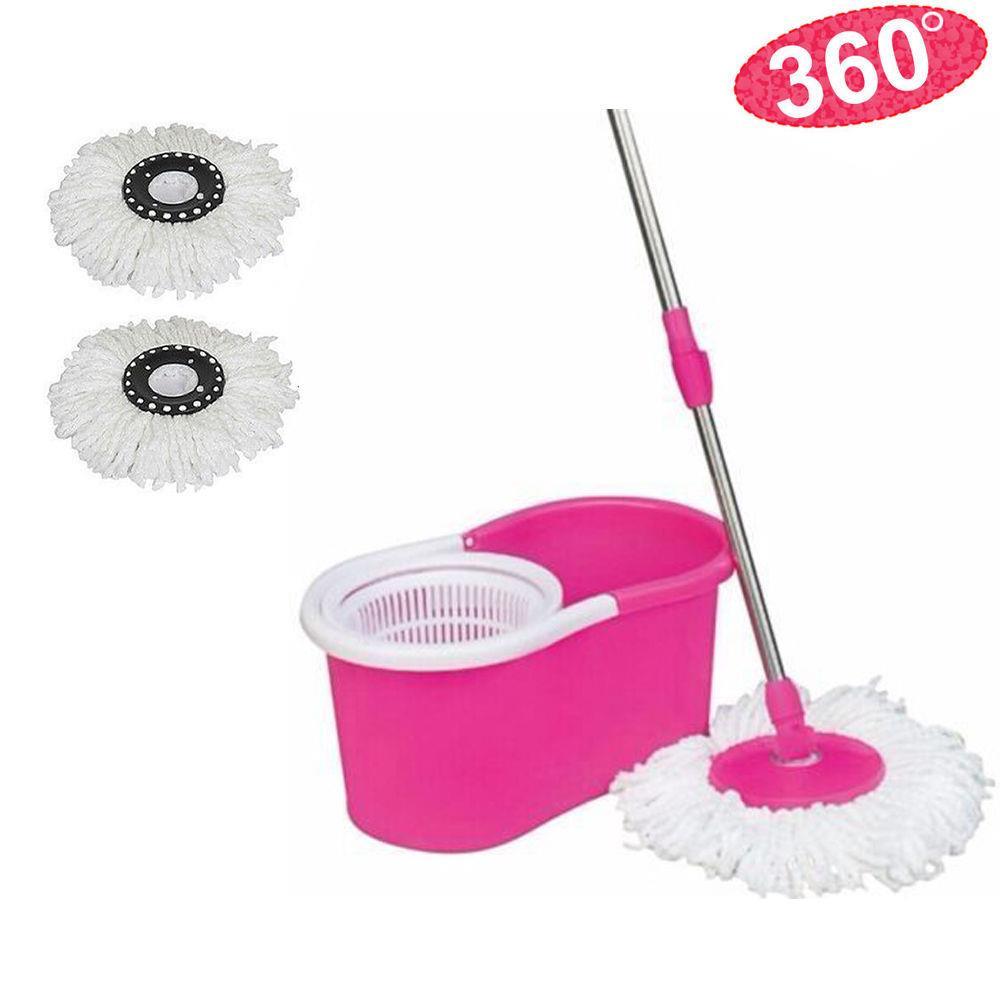 Microfibre Easy 360 ° Spining Magic Mop avec seau 2 têtes tournantes Sol Essuie-glace