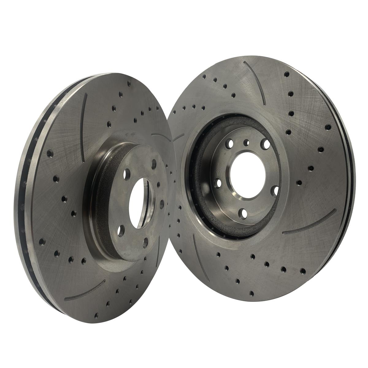FRONT SET BRAKENETIC SPORT Cross DRILLED Brake Disc Rotors BNS42075.CD