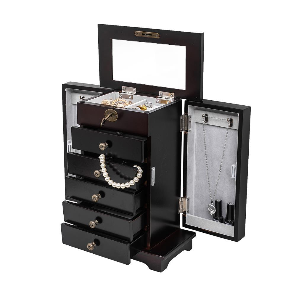 Durable Wooden Jewelry Box Armoire Cabinet Storage 5/6 ...