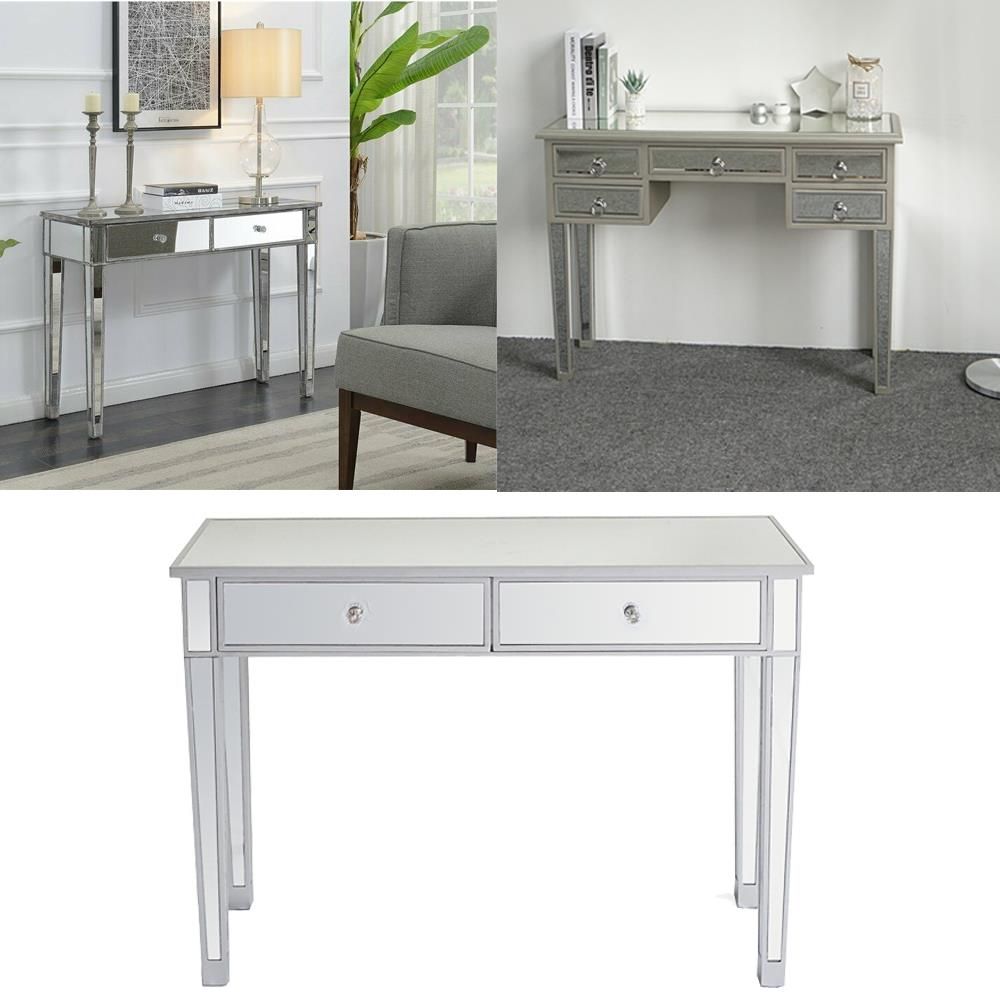 Mirrored Vanity Make Up Desk Console Dressing Silver Glass Table Modern Ebay