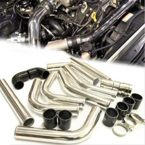 8 Piece 2 60cm Aluminum Intercooler Pipe Kit Black Hose and Clamps Universal