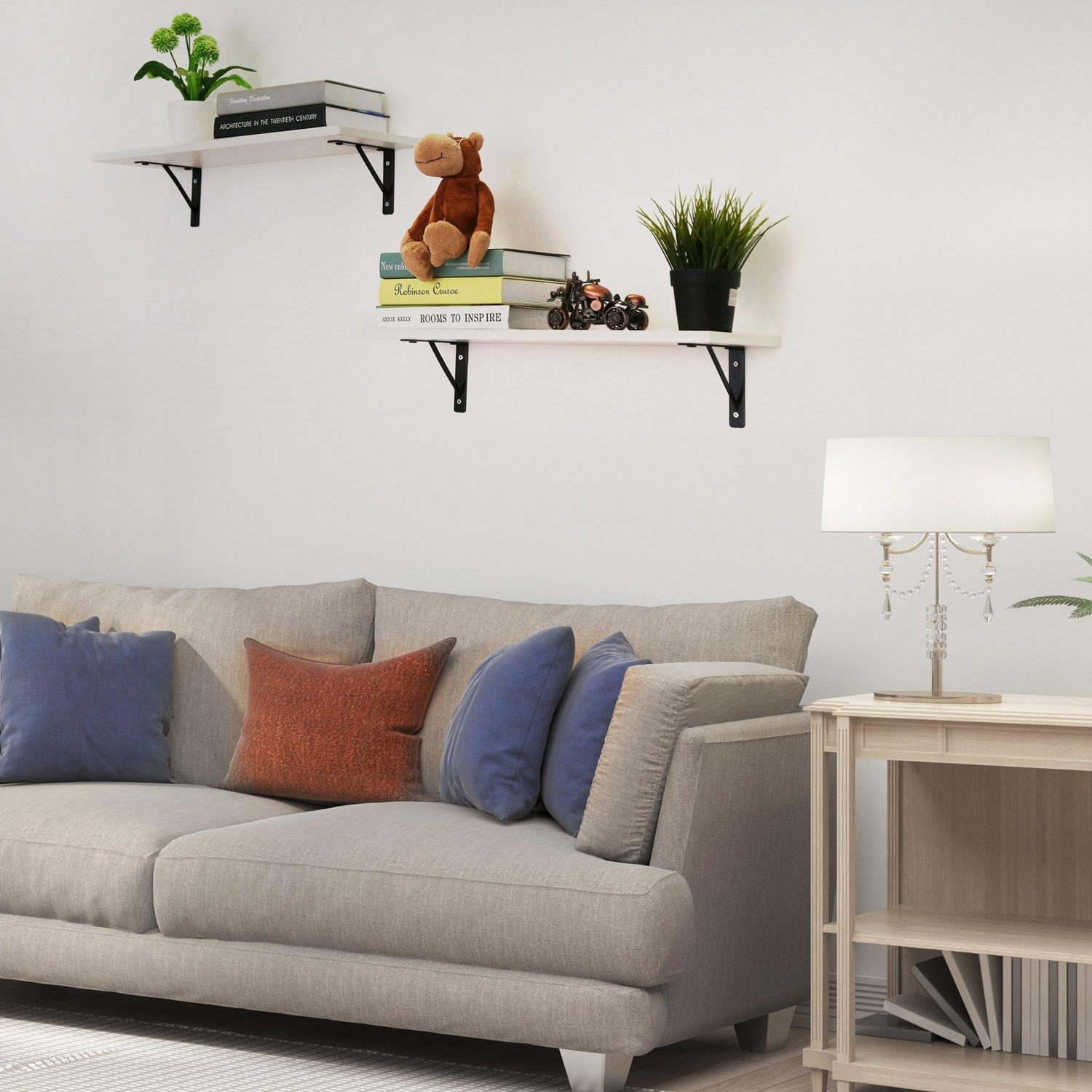 Details About 2 Pcs Display Ledge Shelf Home Decoration Floating Shelves Wall Mounted White